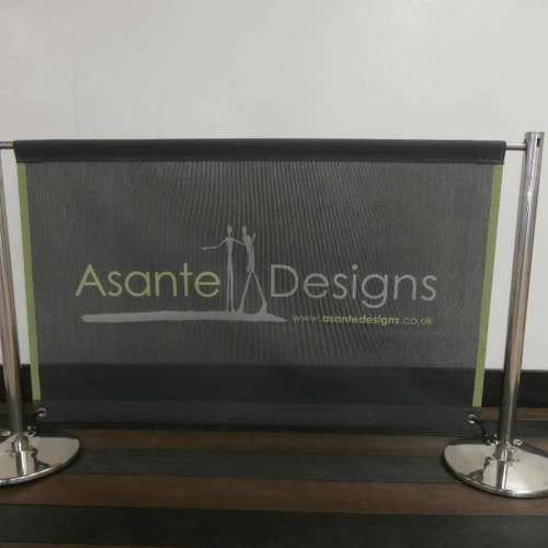 Keyhole Bright Polished Cafe Banner Post & Mesh Banner With Canvas Boarder