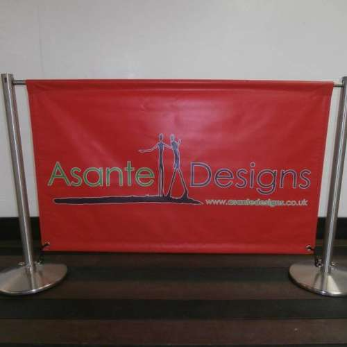 Keyhole Satin Stainless Steel Cafe Banner Posts & PVC Banner