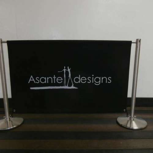 Keyhole Satin Stainless Steel Cafe Banner Posts & Canvas Banner